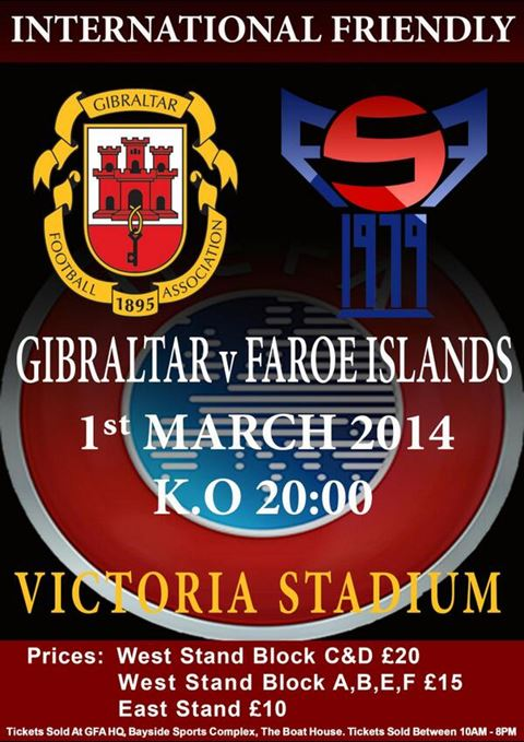Gibraltar v Faroe Islands football friendly poster