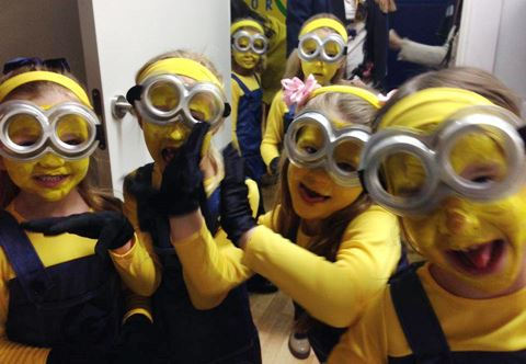 The Year One girls dressed as Minions for their 'Happy' song