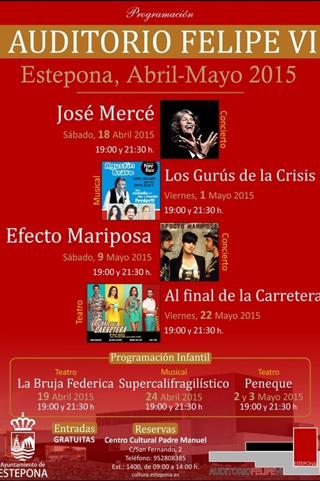 José Mercé, Efecto Mariposa, Melanie Olivares among the initial programme of events for Estepona's newly opened Felipe VI Theatre